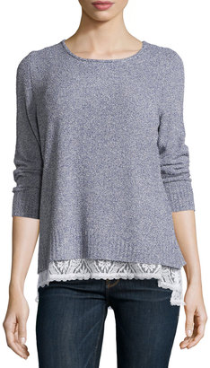 Tyler Boe Back-Button Sweater w/ Lace Trim, Marine $99 thestylecure.com