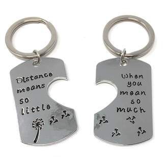Cadoline 'Distance Means So Little When You Mean So Much' Engraved Pendant Keyring 2.5 x 4.2cm x2 Long Distance Love