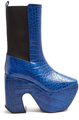 Marques Almeida MARQUES'ALMEIDA Crocodile-effect leather platform boots