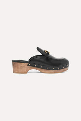 Salvatore Ferragamo Cleome Embellished Leather Mules - Black
