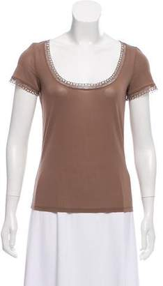 Eres Lace-Trimmed Short Sleeve Top