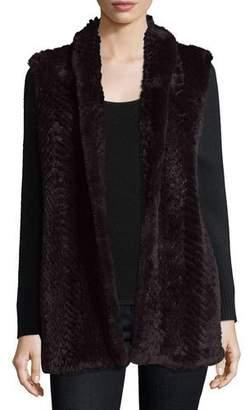 Neiman Marcus Luxury Cashmere Cardigan w/ Rabbit Fur Front