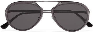 TOM FORD - Aviator-style Gunmetal-tone Mirrored Sunglasses - Silver