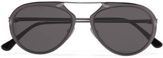 Aviator-style Gunmetal-tone Mirrored Sunglasses - Silver