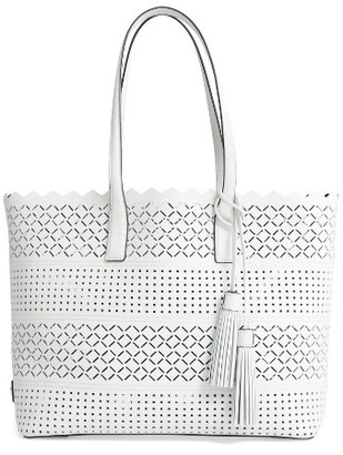 Milly Laser Perforated Leather Tote - White $345 thestylecure.com