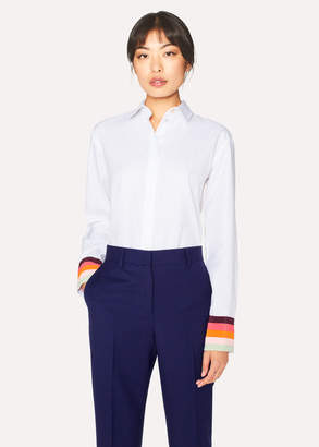 Paul Smith Women's White Cotton Shirt With 'Artist Stripe' Cuffs