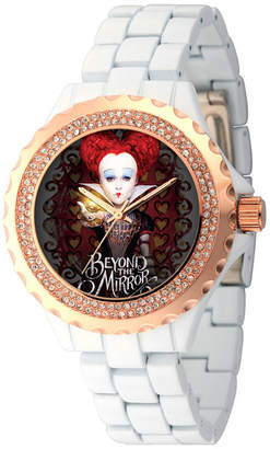 Disney Womens Alice In Wonderland White And RoseGold Tone Red Queen Bracelet Watch