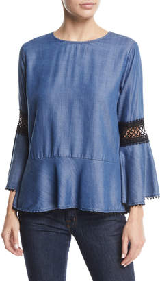 Bobeau Aine Lace-Trim Bell-Sleeve Chambray Peplum Top