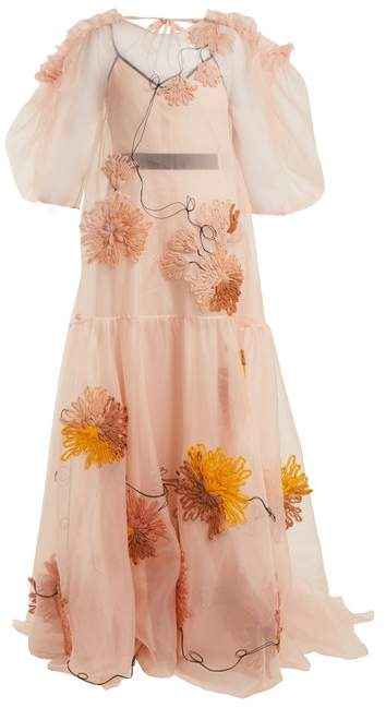 Aurorah floral-embroidered silk dress