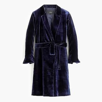 J.Crew Long wrap coat in drapey velvet