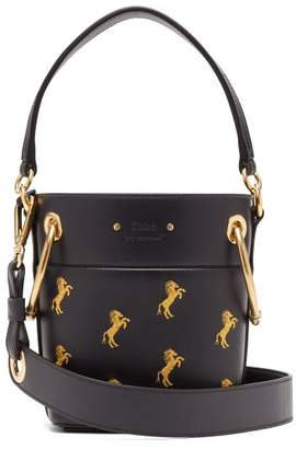 Chloé Roy Little Horse Embroidered Leather Bucket Bag - Womens - Navy Multi