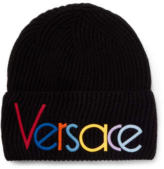 071f450bd042a Versace Logo-Embroidered Ribbed Wool Beanie