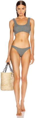 Hunza G Cropped Bikini in Metallic Slate | FWRD