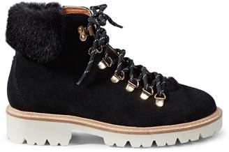 Kate Spade Faux Fur-Trim Suede High-Top Sneakers