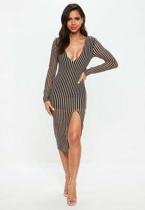 Free Shipping at Missguided · Missguided Black Plunge Insert Mesh Stripe  Midi Dress 8408ae19e