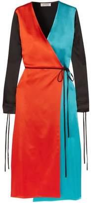 ATTICO Grace Color-Block Satin Wrap Dress