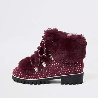 River Island Girls dark red studded faux fur lined boots