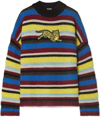 Kenzo Jumping Tiger Appliquéd Striped Wool-blend Sweater - Burgundy