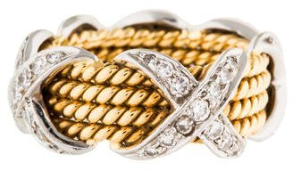 Tiffany & Co. Schlumberger Rope Four Row Diamond X Ring $2,995 thestylecure.com