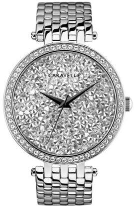 Bulova CARAVELLE Designed by Caravelle Women's Modern Silver Crystal Rock Dial Stainless Steel Bracelet Watch 38mm