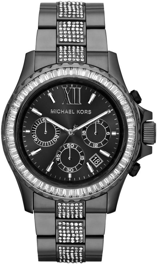Michael Kors Oversize Gunmetal Stainless Steel Everest Chronograph Glitz Watch
