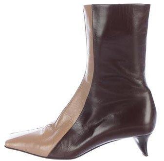 pradaPrada Leather Square-Toe Ankle Boots