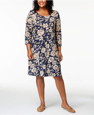 Karen Scott Plus Size Printed 3/4-Sleeve Dress
