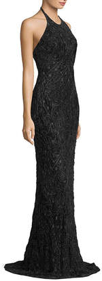 Carmen Marc Valvo Halter Neck Textured Gown