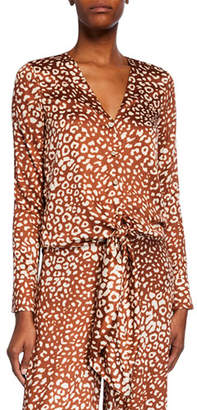 Alexis Neary Leopard-Print Tie-Front Top