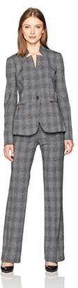 Tahari by Arthur S. Levine Women's Plaid Pant Suit with Updated Collar