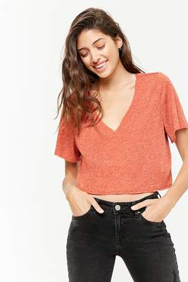 Forever 21 Marled V-Neck Knit Top