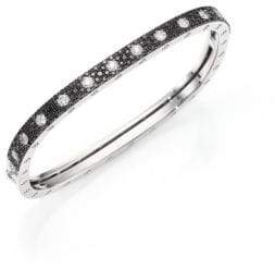 Roberto Coin Pois Moi Diamond, Black Sapphire& 18K White Gold Single-Row Bangle Bracelet