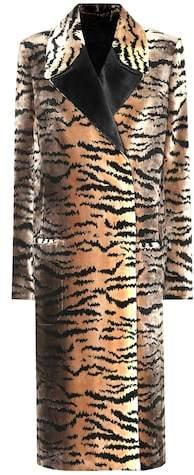 Tiger jacquard virgin wool coat