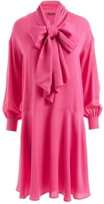 Wolf & Badger Sapphire Silk Bow Dress Pink