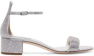 Rene Caovilla Celebrita Crystal-embellished Leather Sandals - Silver