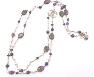 Chanel Gold Twisted CC Two Strand Purple Brown Stone Simulated Glass Pearl Necklace