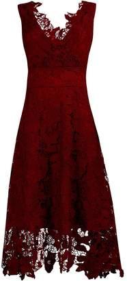 Roland Mouret KIMILILY KMILILY Women's Elegant V Neck Sleeveless Floral Lace Burgundy Bridesmaid Dress(2XL)