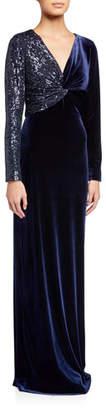 Rickie Freeman For Teri Jon Sequin Embellished V-Neck Long-Sleeve Velvet Column Gown
