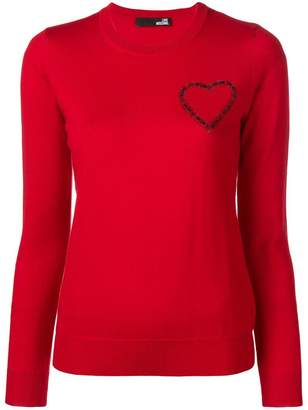 Love Moschino embellished heart jumper