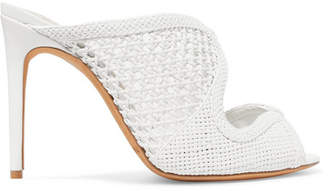 Alexandre Birman Tanny Woven Leather Mules - White