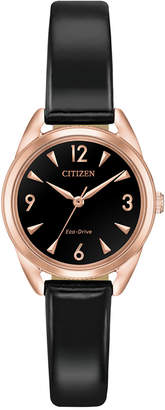 Citizen Drive from Eco-Drive Women Black Patent Vegan Leather Strap Watch 27mm