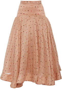 Acler Parxton Gathered Embroidered Linen And Silk-Blend Skirt