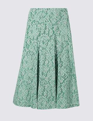 Marks and Spencer Cotton Rich Floral Lace A-Line Midi Skirt