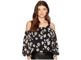 Kensie Monochrome Garden Off Shoulder Top KS9K4321 Women's Clothing