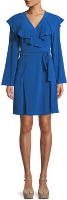 Taylor Ruffle-Trim Bell-Sleeve Wrap Dress