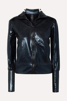 Norma Kamali Turtle Striped Coated Stretch-jersey Track Jacket - Midnight blue