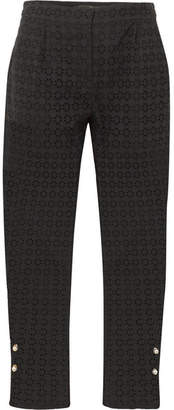 Mother of Pearl Jewell Faux Pearl-embellished Broderie Anglaise Cotton Straight-leg Pants - Black