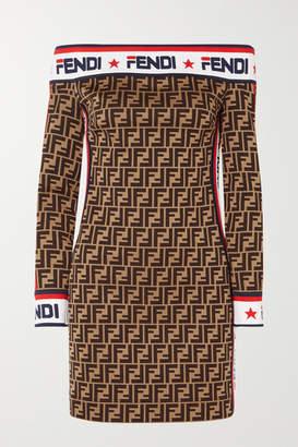 5da5c57e503e5 Fendi Off-the-shoulder Printed Cotton-blend Mini Dress - Brown