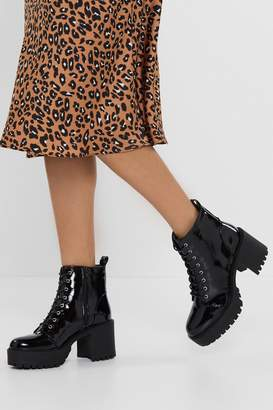 Nasty Gal Stand Firm Patent Chunky Boots