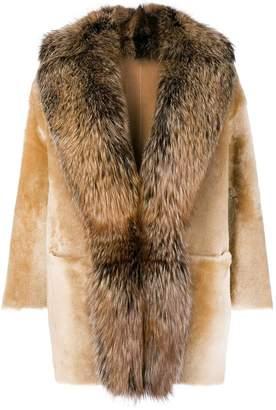 Desa 1972 racoon fur trimmed coat
